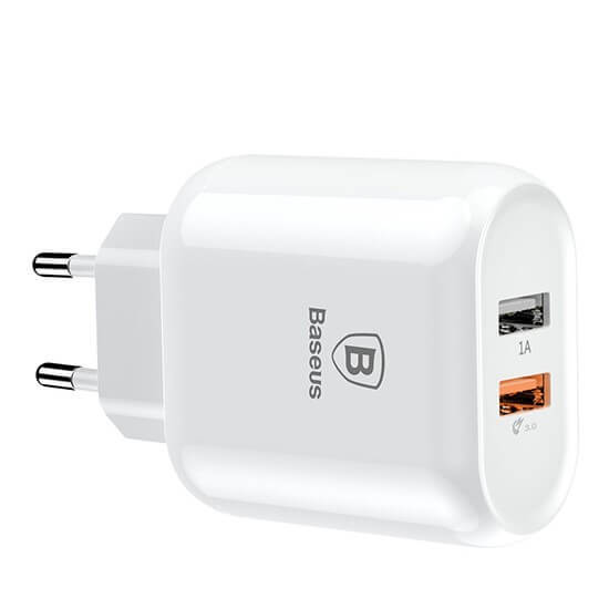 Baseus Bojure Series Dual-USB Quick Charge Charger EU 18W CCALL-AG02 White