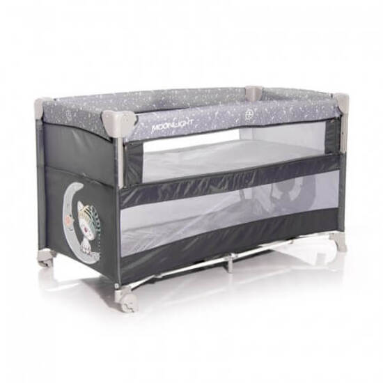 Lorelli  საწოლი Baby Cot UP and DOWN Grey CUTE MOON